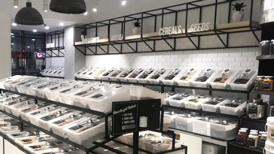 Naked Foods uses Dura Standard flash bricks with a painted white finish from DuraBric