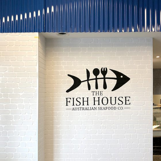 Traditional Dura Rustic brick profile from DuraBric with painted logo and wall finish – The Fish House, Melbourne