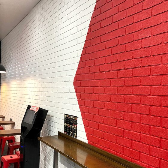 Traditional Dura Tumbled brick profile from DuraBric with painted finish – Noodle Box, Melbourne
