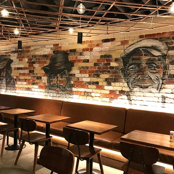 Traditional Dura Rustic brick profile from DuraBric with painted wall mural finish – Quay & Co, Sydney