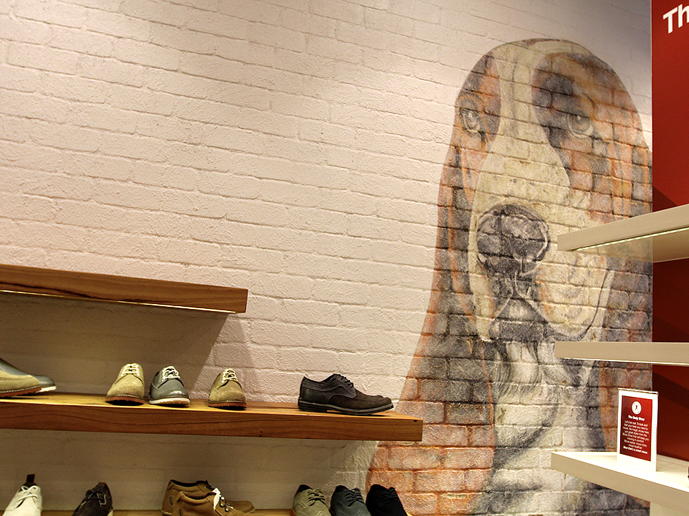 Traditional Dura Tumbled brick profile from DuraBric with painted wall and mural – The Body Shoe Store, Melbourne