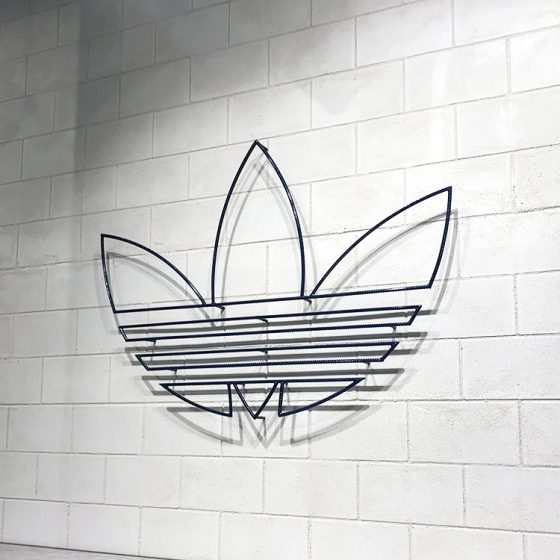 Industrial Dura CinderBlock 3 brick profile from DuraBric, applied to retail interior and painted – Adidas store, Melbourne