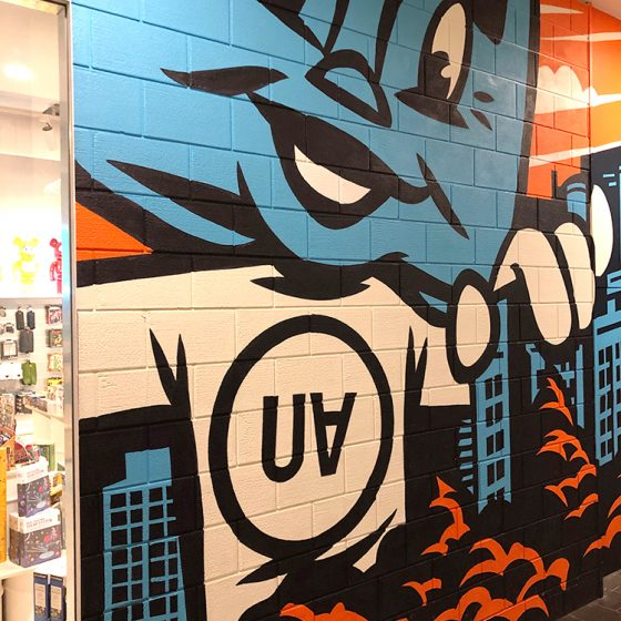 Industrial Dura CinderBlock 3 brick profile from DuraBric – retail fit-out with painted wall illustrations – Urban Attitude, Melbourne Central.