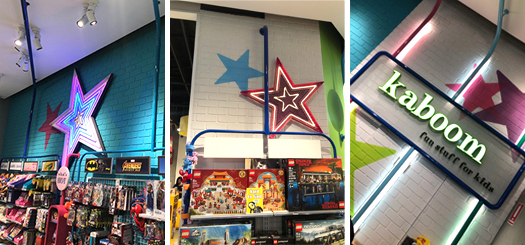 Trivision Shopfitting use brick cladding system to fit-out Lego Kaboom with Durs Tumbled from DuraBric