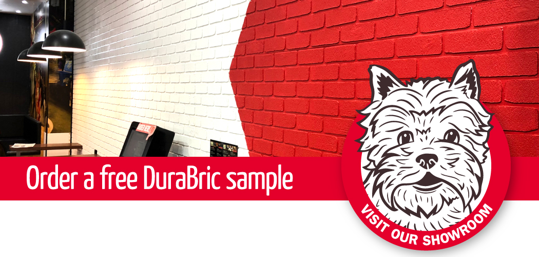 Standard Dura Tumbled brick profile from DuraBric with painted finish – Noodle Box, Melbourne